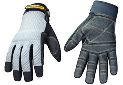 Youngstown Mesh Utility Plus 04-3070-70-L Heavy Duty Mesh Top Work Gloves, Large, Grey