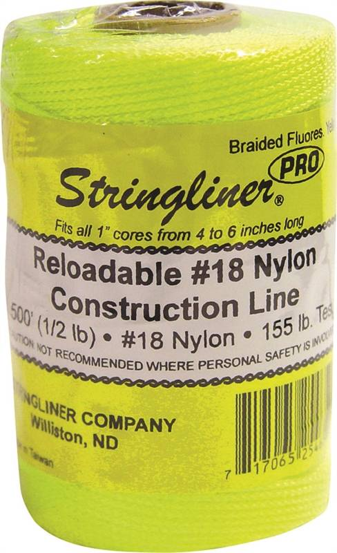Stringliner Pro Braided Replacement Construction Line, NO 18 500 ft L, 165 lb, Nylon, Fluorescent Yellow