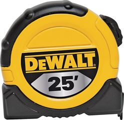 Dewalt DWHT36107 Tape Measure, 16th Graduations, SAE, 1-1/8 in W x 25 ft L, Steel, Yellow Blade, Closed, ABS Plastic