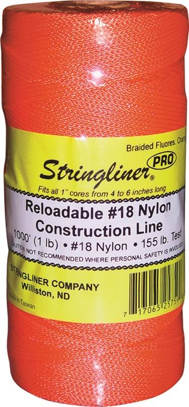 Stringliner Pro Braided Replacement Construction Line, NO 18 1000 ft L, 165 lb, Nylon, Fluorescent Orange