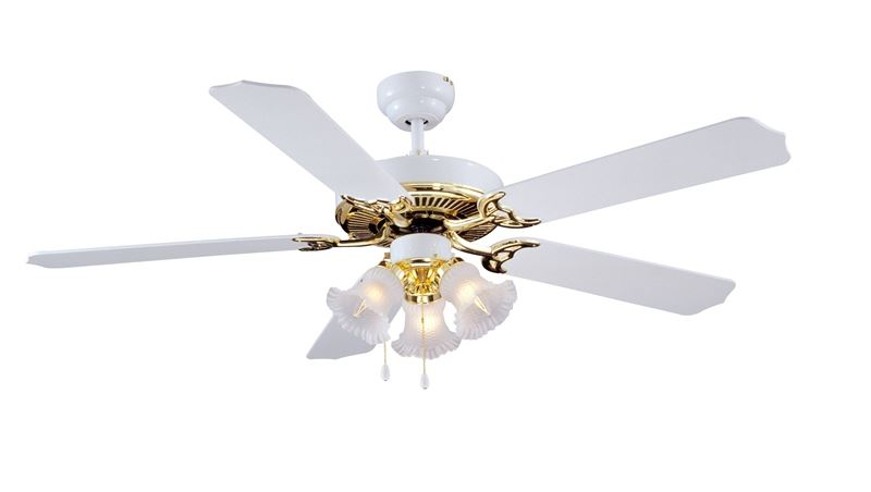 Boston Harbor 645929 Ceiling Fan Light Kit, Candelabra, 3, 60 W Lamp, White, Polished Brass, 18-1/2 in H