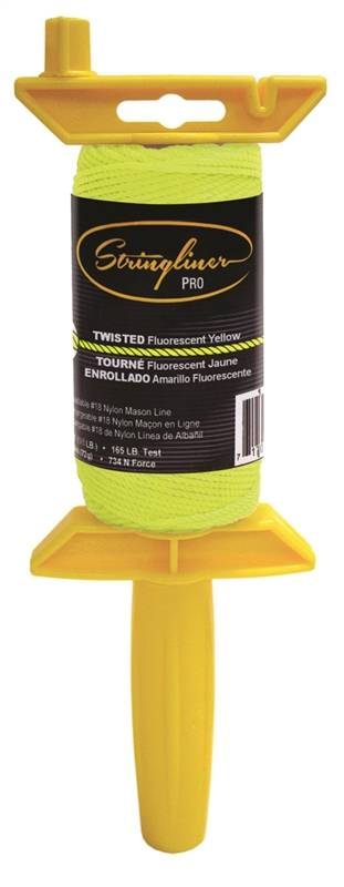 Stringliner Pro Twisted Chalk Line With Reel, NO 18, 1/8 in Dia x 135 ft L, Nylon, Fluorescent Yellow