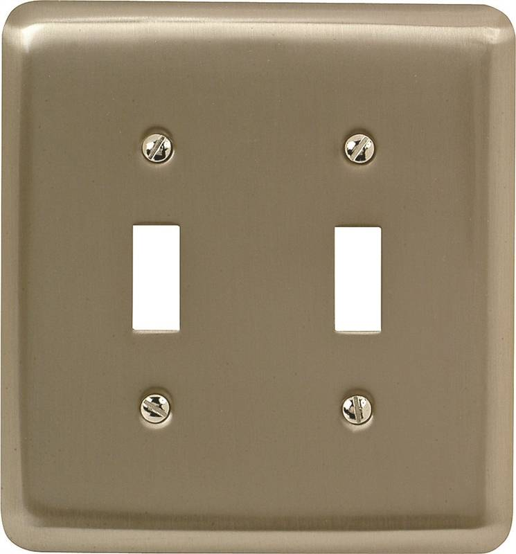 AmerTac 2TTPW Round Corner Wall Plate, 2 Gang, 5 in L x 4-5/8 in W x 1/4 in D, Pewter