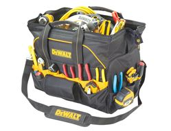 Custom Leathercraft DG5553 Closed Top Tool Bag, 18 in L, Ballistic Poly Fabric, Black/Yellow
