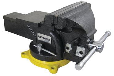 Olympia 38-647 1-Hand Operation Heavy Duty Bench Vise, 6 in, Steel, 360 deg Rotation