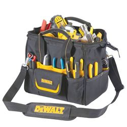 Custom Leathercraft Tradesman DG5542 Tool Bag, 12 in L, Ballistic Poly Fabric, Black/Yellow