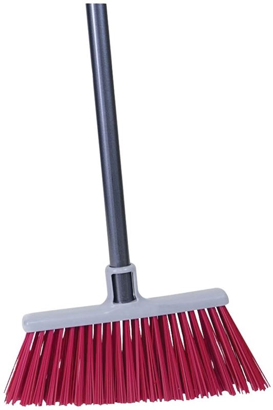 Quickie 7576ZQK Heavy Duty, Upright Angle Broom, Red Synthetic, PET Bristle, 48-1/2 in L Plastic Black