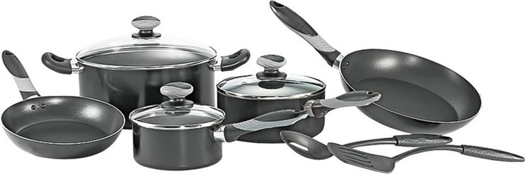 T-fal A797SA84 Non-Stick Cookware Set, Aluminum, Black, 10-Piece