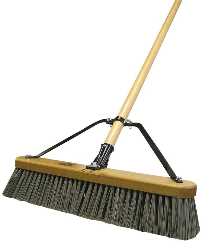 Quickie 847HDSU Medium Duty Push Broom, Green Synthetic Bristle, 18 in Hardwood Block, 15/16 in Dia x 60 in L Brown