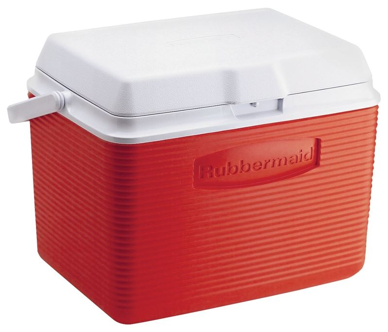 Rubbermaid FG2A1304MODRD Ice Chest Cooler, 12.4 in L x 17.4 in W x 13.3 in H, Top Swing Handle, Plastic 4 Pack