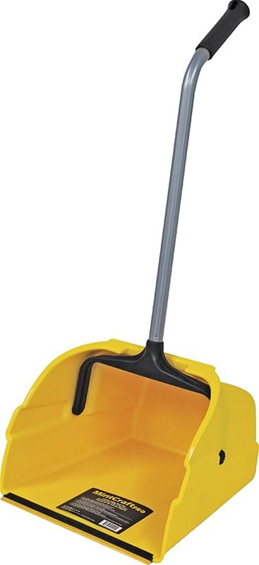MintCraft 8497 Dustpan, 12 in W, Polypropylene Plastic, Metal Handle With Plastic Grip, For Use With Broom