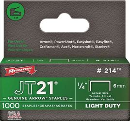 Arrow 214 Light Duty Staple, Flat, 1/4 in Leg 5 Pack
