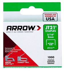 Arrow 215 Light Duty Staple, Flat, 5/16 in Leg 5 Pack