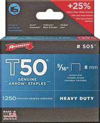 ARROW 50524 Heavy Duty Crown Staple, 3/8 in Flat Crown, 5/16 in L Leg, Galvanized Steel 4 Pack