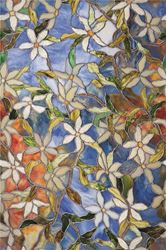 Artscape Clematis Decorative Window Film, 24 in W x 36 in L x 0.007 in T, Textured Stained Glass 4 Pack