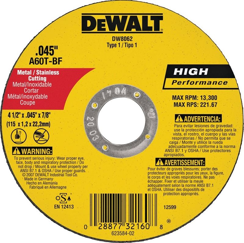 Dewalt DW8062 Type 1 High Performance Reinforced Cut-Off Wheel, 4-1/2 in Dia x 0.045 in T