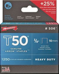 ARROW 50624 Heavy Duty Crown Staple, 3/8 in Flat Crown, 3/8 in L Leg, Galvanized Steel 4 Pack
