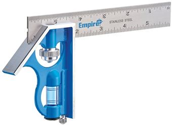 Empire E255 Pocket Combination Square, 6 in Blade Length, 0.062 in, Stainless Steel Blade