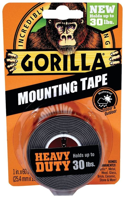 Gorilla 6055002 Heavy-Duty Mounting Tape, 60 in L, 1 in W, Black