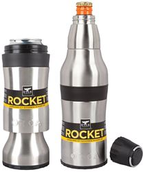 ORCA Rocket ORCROCK Bottle and Can Beverage Holder, 12 oz Can/Bottle, Stainless Steel, Silver