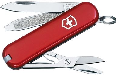 Classic SD 56011 Folding Pocket Knife, 7 Tool, 7-In-1 Function, Stainless Steel, Red