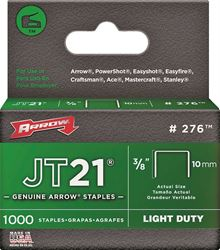 Arrow 276 Light Duty Staple, Narrow, 3/8 in Leg 5 Pack
