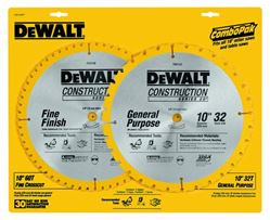 Dewalt 20 Circular Saw Blade, 10 in Dia x 0.069 in T, 60 Teeth, 5/8 in Arbor