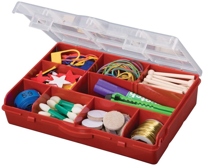 Stack-On SBR-10 Storage Box With Removable Dividers, 6 in L x 8 in W x 1-3/4 in H, Plastic, Red