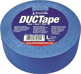 Intertape 20C-BL2 Duct Tape, 1.87 in W x 60 yd L, Poly Coated Cloth Backing, Blue, Utility