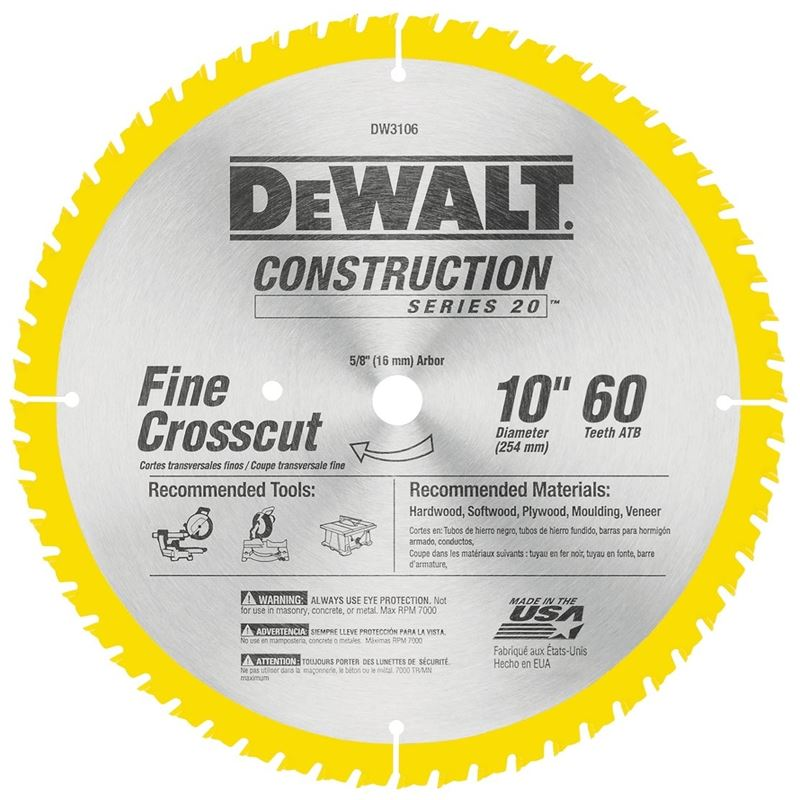 Dewalt 20 Circular Saw Blade, 10 in Dia x 0.071 in T, 60 Teeth, 5/8 in Arbor