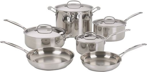 Cuisinart Chefs Classic 77-10 Cookware Set, Stainless Steel, Polished Mirror, 10-Piece