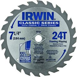 IRWIN 25130 Circular Saw Blade, 7-1/4 in Dia, Carbide Cutting Edge, 5/8 in Arbor, Carbide