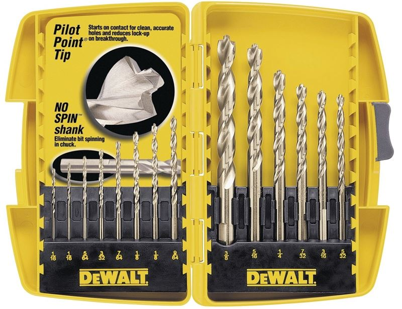 Dewalt DW1169 Pilot Point Bit Set, 14 Pieces, 1/16 - 3/8 in
