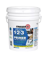 Zinsser  Bulls Eye 123  Water-Based  Interior and Exterior  Primer and Sealer  5 gal. White