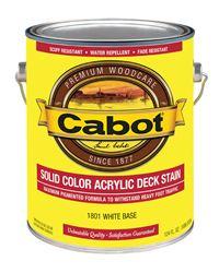 Cabot Solid Tintable White Base Water-Based Acrylic Deck Stain 1 gal.