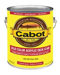Cabot Solid Tintable Neutral Base Water-Based Acrylic Deck Stain 1 gal.