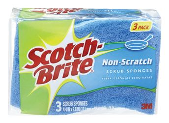 3M  Scotch-Brite  For Multi-Purpose Scrub Sponge  2.6 in. W x 4.4 in. L 3 pk