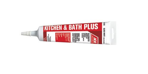 Ace  Siliconized Acrylic  Kitchen and Bath Adhesive Caulk  White  5.5 oz.