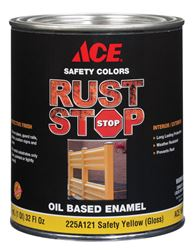 Ace  Gloss  Rust Stop Oil-based Enamel Paint  400g/L  Safety Yellow  1 qt.