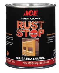 Ace  Gloss  Rust Stop Oil-based Enamel Paint  400g/L  Safety Red  1 qt.