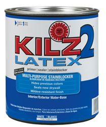 Kilz 2 Latex  Water-Based  Interior and Exterior  Primer and Sealer  1 qt. White  Mildew-Resistant