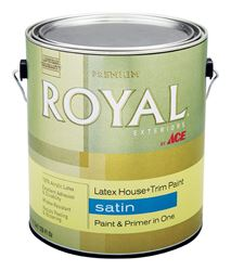 Ace  Royal  Exterior  Acrylic Latex  House & Trim Paint & Primer  Ultra White  Satin  1 gal.