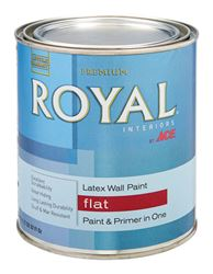 Ace  Royal  Interior  Acrylic Latex  Paint  Ultra White  Flat  1 qt.