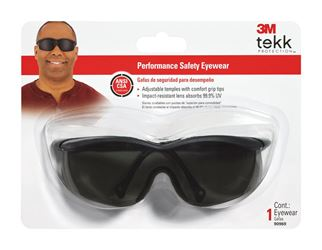 3M Tekk  Multi-Purpose  Safety Glasses  Antifog Gray Lens Black Frame Carded