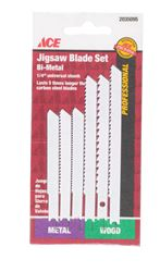Ace  Bi-Metal  U-Shank  Jig Saw Blade Set  6 pk
