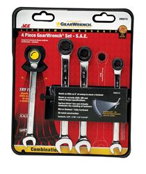 Ace  4 pc. Metal  SAE  Ratcheting Gearwrench Set