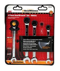 Ace  4 pc. Metal  Metric  Ratcheting Gearwrench Set