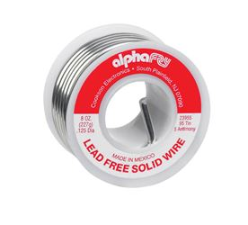 Alpha Fry  Tin / Antimony  For Plumbing Solid Wire Solder  8 oz. 95% Tin, 5% Antimony  For General N