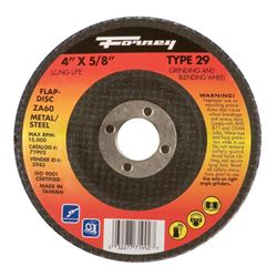 Forney  4 in. Dia. x 5/8 in.  Blue Zirconia  Flap Disc  60 Grit
