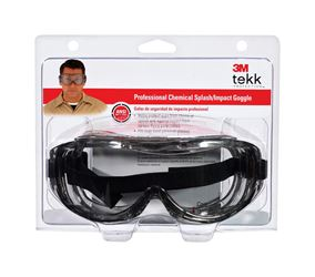 3M Tekk  Chemical splash  Safety Glasses  Antifog Clear Lens Silver Frame Clamshell